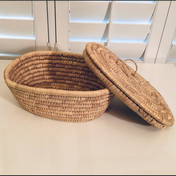 Other - Woven grass basket with lid